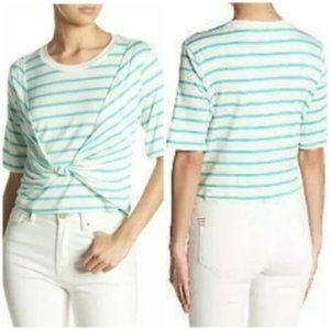 Abound Short Sleeve Striped Green Knot Tie Top M